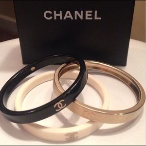 Chanel gold black white CC LOGO stacking bracelets